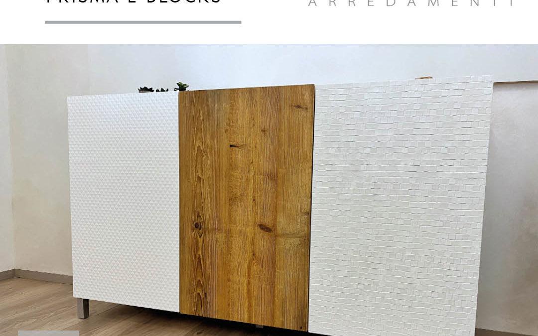 foto di un mobile in MDF in bianco e legno